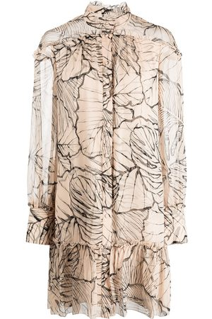 Marchesa Notte Ruffle-trim leaf-print minidress