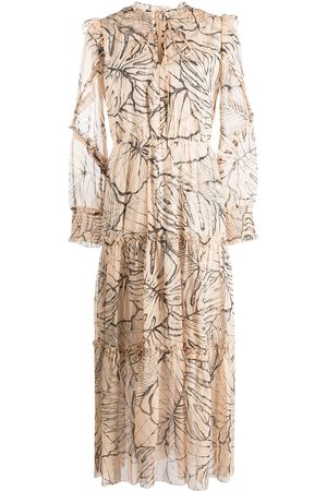 Marchesa Notte Women Party Dresses - Ruffle-trim leaf-print dress