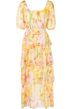 Marchesa Notte Women Party Dresses - Daffodil-print tiered dress