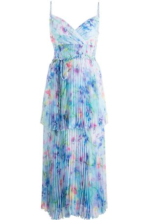 Marchesa Notte Women Party Dresses - Tiered watercolour-print dress