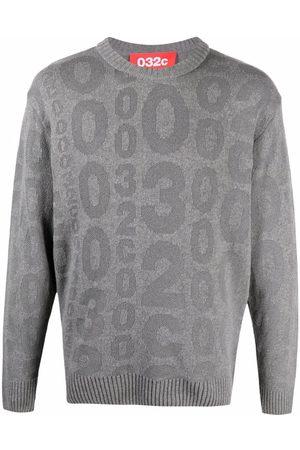 032c Sweatshirts - Intarsia logo-knit jumper - Grey