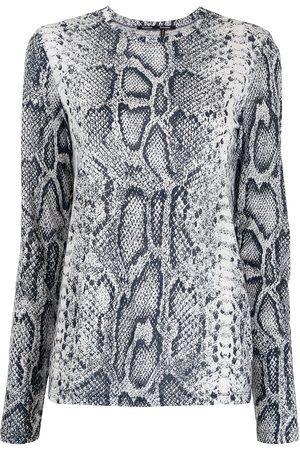 Proenza Schouler Women Long Sleeve - Snakeskin-print long-sleeved T-shirt