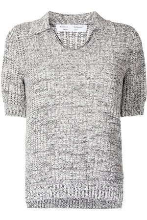 PROENZA SCHOULER WHITE LABEL Women Polo Shirts - Knitted short-sleeve polo top - Grey