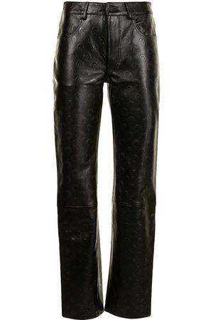 Marine Serre Women Leather Pants - Moon-print leather trousers