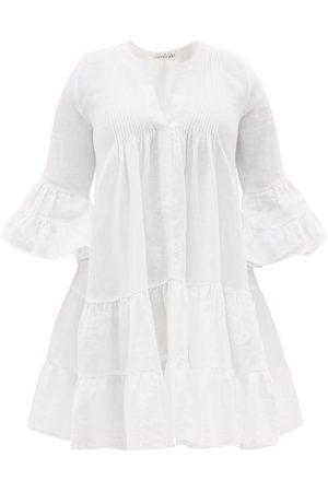 Casa Raki Women Party Dresses - Delfina Tiered V-neck Organic-linen Mini Dress - Womens