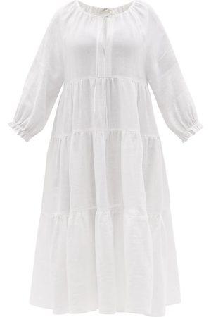 Casa Raki Josefina Tiered Organic-linen Midi Dress - Womens