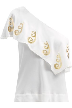 Themis Z Women Tops - One-shoulder Peacock-print Silk Top - Womens