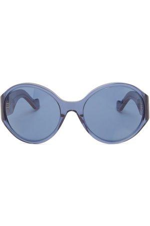 Loewe Anagram-logo Round Acetate Sunglasses - Womens - Light