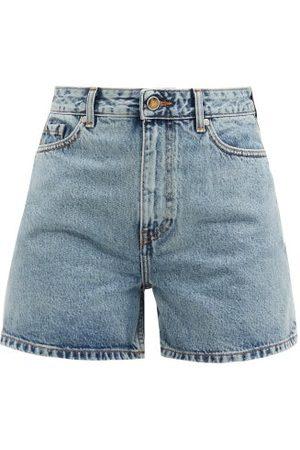 Ganni Women Shorts - Mid-rise Acid-wash Denim Shorts - Womens - Denim