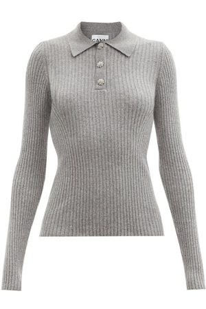 Ganni Crystal-button Ribbed Recycled-fibre Polo Sweater - Womens - Grey
