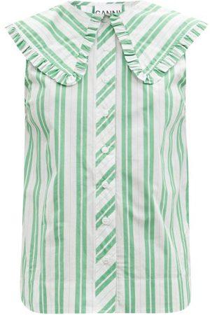 Ganni Ruffled-collar Sleeveless Cotton-poplin Shirt - Womens