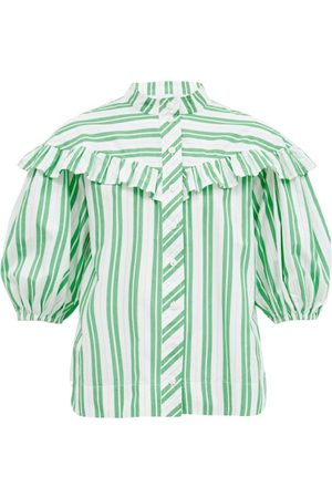 Ganni Women Shirts - Ruffled Striped Organic-cotton Poplin Shirt - Womens