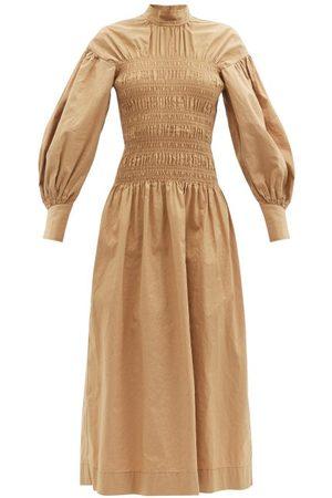 Ganni Smocked-bodice Organic Cotton-blend Midi Dress - Womens