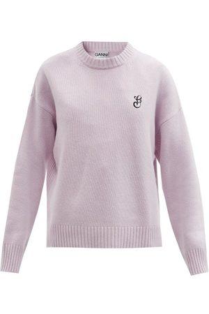 Ganni Women Sweaters - Logo-embroidered Wool-blend Sweater - Womens - Light
