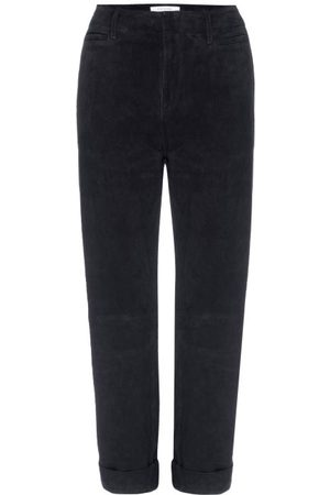 Frame Women Leather Pants - Le Tomboy High-rise Suede Trousers - Womens