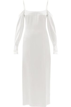 GALVAN Valencia Off-the-shoulder Silk-satin Dress - Womens