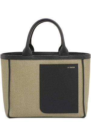 VALEXTRA Mini Canvas & Leather Tote Bag