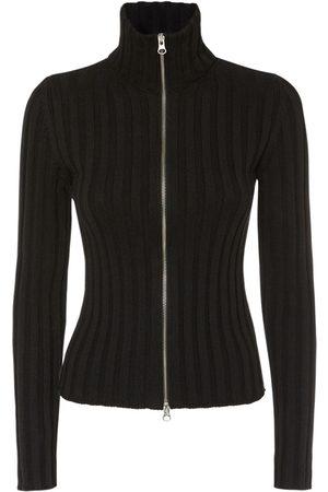 MM6 MAISON MARGIELA Women Cardigans - Cotton & Wool Rib Knit Zip Cardigan