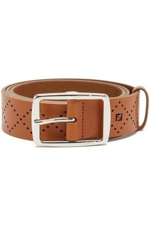 Fendi Men Belts - Ff-monogram Perforated Leather Belt - Mens - Tan