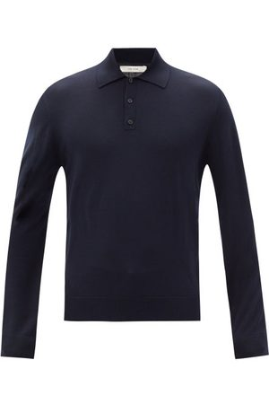 The Row Men Polo Shirts - Diego Merino-wool Long-sleeved Polo Shirt - Mens - Dark Navy