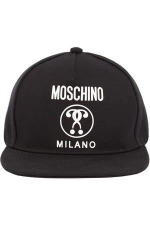 Moschino Men Caps - Logo Printed Cotton Canvas Flat Cap