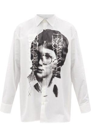 RAF SIMONS Men Casual - Portrait-print Ruffled Cotton-poplin Shirt - Mens