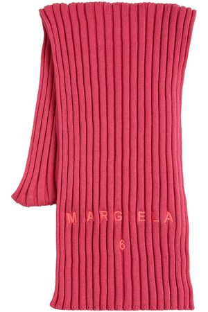 MM6 MAISON MARGIELA Women Scarves - Logo Cotton & Wool Ribbed Knit Scarf