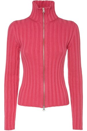MM6 MAISON MARGIELA Cotton & Wool Rib Knit Zip Cardigan