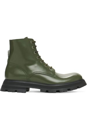 Alexander McQueen 45mm Brushed Leather Combat Boots