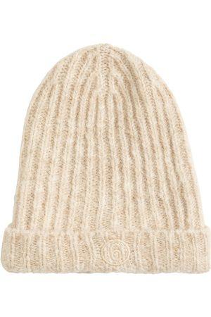 MM6 MAISON MARGIELA Women Beanies - Logo Mohair Blend Ribbed Knit Beanie