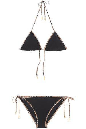 Burberry Women Bikinis - Nylon Check Printed Bikini