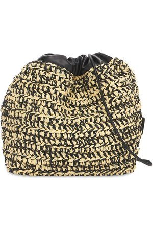 Jil Sander Women Shoulder Bags - Cotton & Leather Intrecciato Bucket Bag