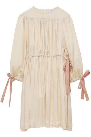Unlabel Gathered Satin Dress W/ Bow Details