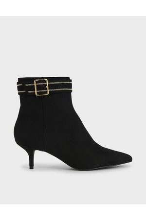 CHARLES & KEITH Textured Buckle Kitten Heel Boots
