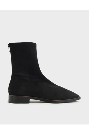 CHARLES & KEITH Women Ankle Boots - Textured Zip Ankle Boots