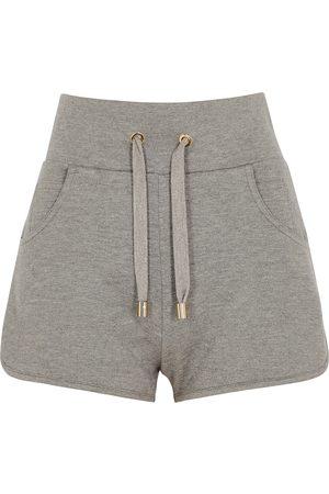 Balmain Women Shorts - Grey logo cotton-blend shorts