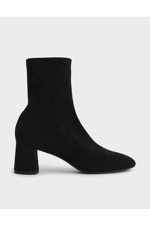 CHARLES & KEITH Textured Sculptural Heel Ankle Boots