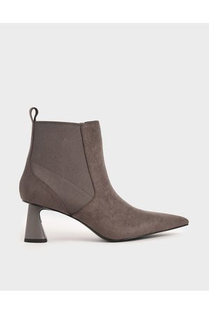 CHARLES & KEITH Textured Spool Heel Ankle Boots