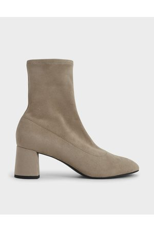 CHARLES & KEITH Women Ankle Boots - Textured Sculptural Heel Ankle Boots