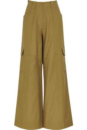 PETAR PETROV Garnet olive wide-leg twill trousers