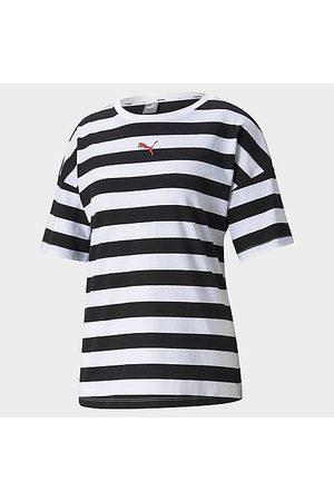 PUMA Women's Summer Stripes Allover Print T-Shirt in / Size X-Small Cotton