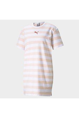 PUMA Women's Summer Stripes Allover Print T-Shirt Dress in /Cloud Size X-Small Cotton