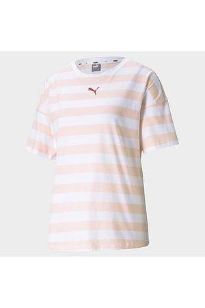 PUMA Women's Summer Stripes Allover Print T-Shirt in /Cloud Size X-Small Cotton