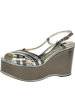 Dolce & Gabbana Women Platform Sandals - Metallic Leather Wedge Platform Slingback Sandals Size 40