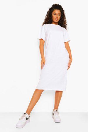 Boohoo Womens Round Neck Short Sleeve Midi Shift Dress - - 4