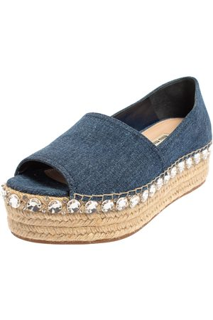 Miu Miu Women Platform Pumps - Denim Crystal Embellished Peep Toe Platform Espadrilles Size 40