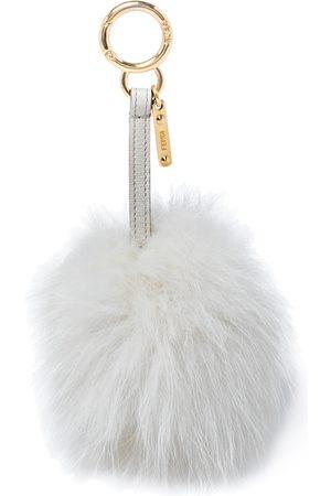 Fendi Women Purses - Grey/Offwhite Fox Fur And Leather Pom Pom Bag Charm