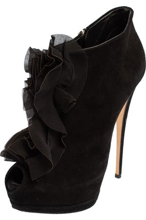 Giuseppe Zanotti Suede Peep Toe Ankle Boots Size 39.5