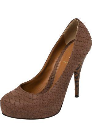 Fendi Women Platform Pumps - Python Embossed Leather Superstar Platform Pumps Size 38.5