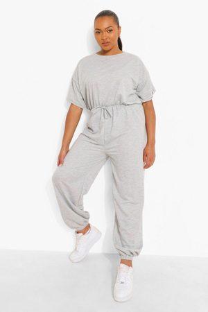 Boohoo Womens Plus Loopback Short Sleeve Cuffed Jumpsuit - - 12